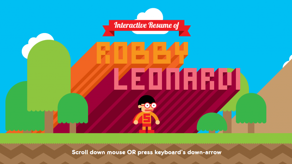 Interactive game-like resume made is by Graphic Designer Robby Leonardi